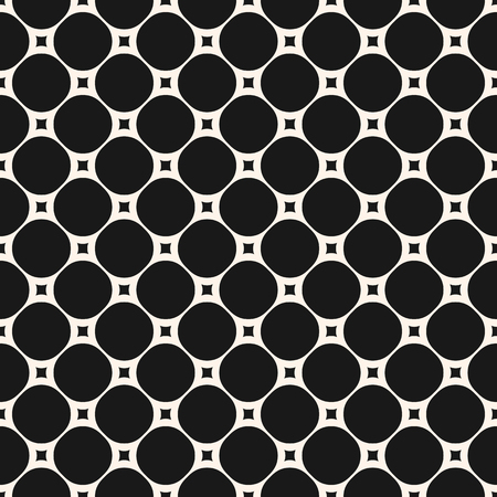 Vector seamless pattern with circles and squares. Modern black & white geometric background. Simple abstract monochrome texture. Repeat design for prints, decoration, textile, fabric, cloth, digital