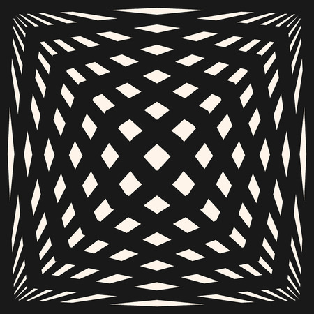 Vector geometric checkered pattern. Black & white seamless texture with crossing lines, stripes, stretched cubic shapes. Optical illusion effect. Modern monochrome abstract background. Pop art style