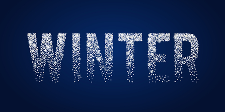 Winter shiny white typographic text.