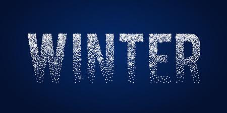 Winter shiny white typographic text.