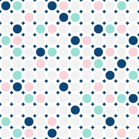 Colorful circles seamless pattern. Fashionable geometric background in trendy colors: pink, navy, light grey, mint. Simple dots texture. Stylish design for decoration, textile, cover, invitation cards 向量圖像