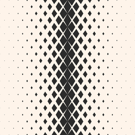 Vector geometric seamless pattern with fading diamond shapes, rhombuses. Halftone transition effect. Hipster fashion design. Abstract background with gradient. Stylish modern black