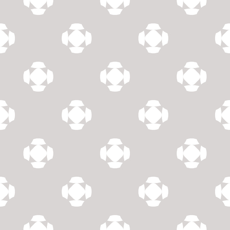 Vector minimalist seamless pattern with simple geometric figures, crosses, floral shapes. Abstract texture in neutral pastel colors, light gray and white. Modern minimal background. Repeat design