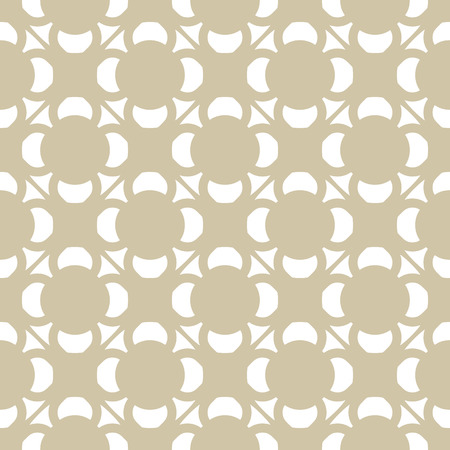 Vector golden ornament pattern in Asian style. White and beige elegant seamless texture with simple geometric shapes, floral figures. Abstract ornamental background. Repeat design for decor, furniture