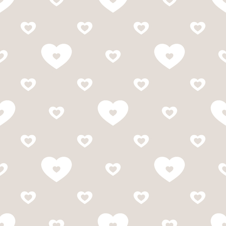Vector hearts seamless pattern. Valentines day background. Subtle love romantic pattern. Abstract geometric texture in neutral colors, beige and white. Wedding theme. Design for decor, textile, cards.