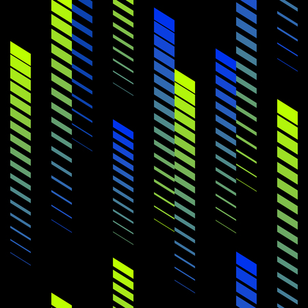 Abstract geometric seamless pattern with vertical gradient fading lines, tracks, halftone stripes.  Trendy background in bright neon colors, green, blue, black Vector illustration.