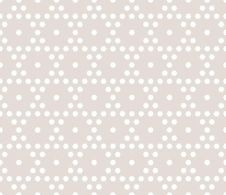 Vector hexagonal geometric pattern. Subtle seamless texture with small hexagons in regular grid. Abstract background in neutral colors, light beige and white.