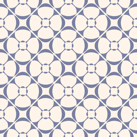 Vector geometric ornament pattern with rounded floral shapes. Abstract seamless texture in retro vintage colors, blue serenity and beige.