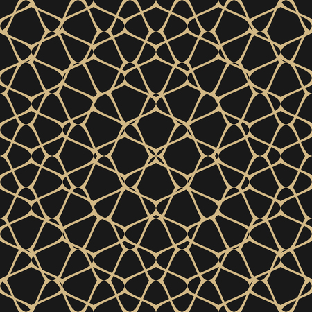 Mesh vector seamless pattern, subtle abstract geometric ornament texture with thin curved lines, delicate net, grid, lattice, lace, fishnet. Black and gold background, elegant repeat design element.