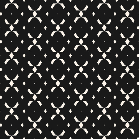 Tribal ethnic seamless pattern with simple geometric shapes, rhombuses, crosses. Abstract black and white texture in traditional folk style. Monochrome repeat background. Design for fabric, covers