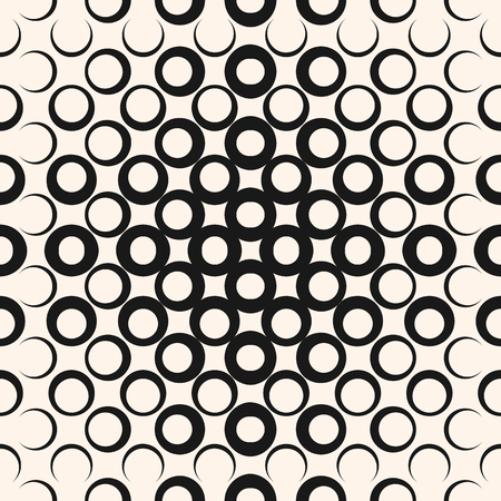 A Vector geometric halftone seamless pattern with circles, rings, dots. Abstract texture in black and white colors. Vectores