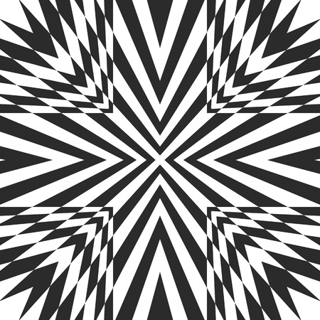 Black & white geometric burst background. Vector striped seamless pattern with concentric intersecting lines, diagonal stripes, rays. Abstract monochrome texture. Optical art. Design for covers, decor