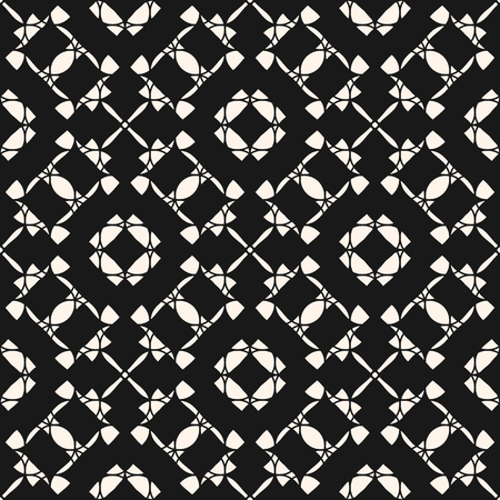 A Vector ornament seamless pattern. Black and white repeat ornamental texture, oriental style. Abstract mosaic background. Elegant geometric wallpaper. Design for prints, fabric, textile, napkin, decor  イラスト・ベクター素材