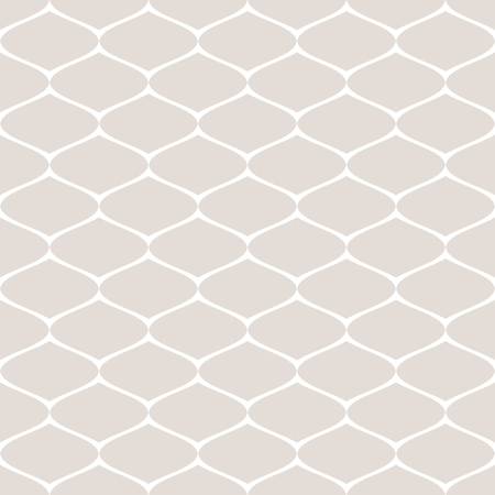 Subtle seamless pattern of mesh, lattice, grid, fishnet, tissue, lace, net. Vector monochrome abstract repeat background. Simple delicate white and beige geometric texture. Decorative design element