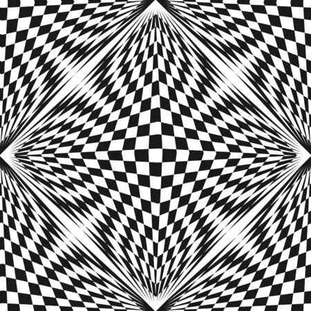 Vector abstract checkered pattern. Black & white geometric seamless texture. Stretched chessboard surface, optical illusion effect. Monochrome repeat background. Pop art style. Square design element