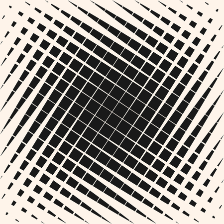Vector halftone geometric pattern with crossing diagonal lines, square grid, mesh, lattice. Graphic monochrome texture with gradient transition effect. Abstract repeat background. Modern trendy design