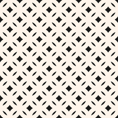 Vector geometric seamless pattern with diamond shapes, rhombuses, ovals, grid, lattice, mesh. Simple modern abstract black and white background texture. Monochrome geometric design, repeat tiles Stock Illustratie