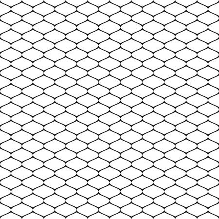 Vector il modello senza cuciture, la struttura geometrica in bianco e nero semplice, l'illustrazione monocromatica della maglia, la grata, la griglia, la rete da pesca, il tessuto, il pizzo, rete. Ripetere sfondo astratto. Elemento di design per stampe