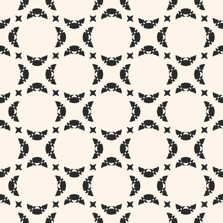 Seamless abstract geometric pattern. Black and white vector background. Delicate ornament with carved shapes, crescents, stars. Subtle monochrome texture, repeat tiles. Elegant design for decoration