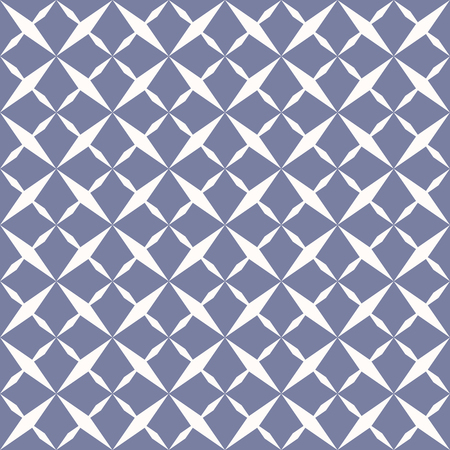Ornamental grid seamless pattern. Abstract geometric blue and white texture with stars, rhombuses, cross shapes. Simple repeat background. Design for decoration, prints, covers, cloth. - Stock vector