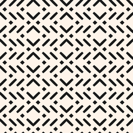 Vector geometric seamless pattern with zigzag lines, stripes, squares. Modern abstract black and white repeat texture. Monochrome background in ethnic style. Graphic design for decor, fabric, prints Vettoriali