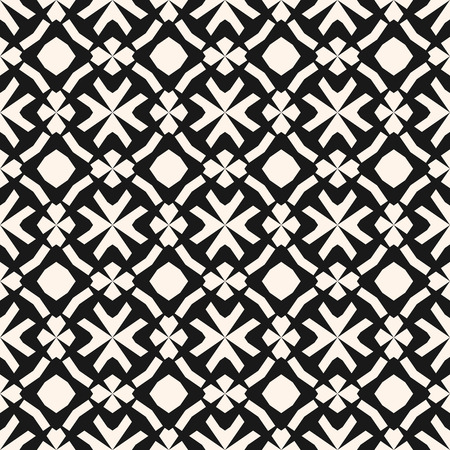 Vector monochrome ornamental pattern in ethnic style. Traditional folk motif. Abstract geometric seamless texture with floral shapes, grid, lattice. Black and white repeat background. Elegant design Illustration