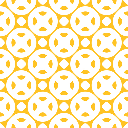 Yellow vector seamless pattern. Bright colorful background with simple geometric shapes, circles, dots, rounded figures, grid. Abstract modern texture. Summer style decorative design, repeat tiles. 向量圖像