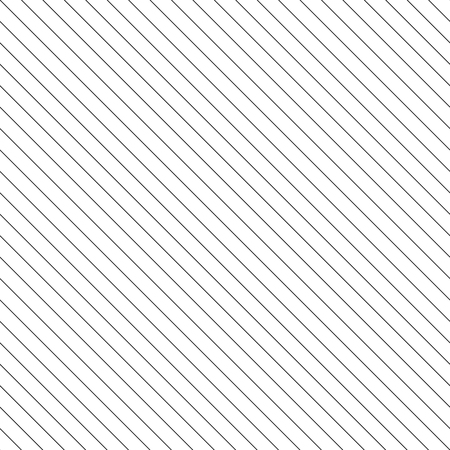 Vector stripes seamless pattern. Thin diagonal lines texture, 45 degrees inclination. Simple striped illustration template, repeat tiles. Black and white. Abstract geometric monochrome background Illustration