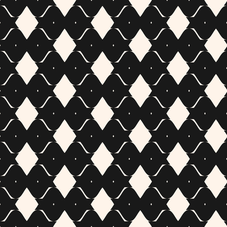 Rhombus grid geometric seamless pattern. Vector abstract monochrome texture with rhombic shapes, curved elements. Simple black and white repeat background. Stylish dark design for decor, covers, web