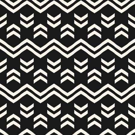 Vector geometric seamless pattern with zigzag lines, stripes, triangle shapes. Modern black and white texture. Abstract repeat monochrome geometrical background. Ethnic tribal motif graphic design.
