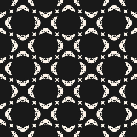 Seamless abstract geometric pattern. Black and white vector background. Delicate ornament with carved shapes, crescents, stars. Subtle monochrome texture, repeat tiles. Elegant dark decorative design.