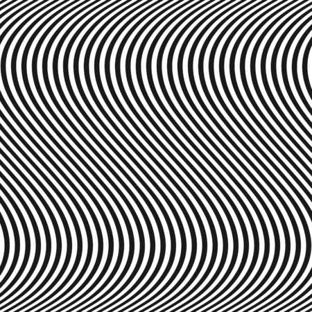 Curved wavy lines seamless pattern. Vector texture with black and white waves, thin stripes. Dynamical 3D effect, illusion of movement. Modern abstract ripple background. Repeat design, pop art style.
