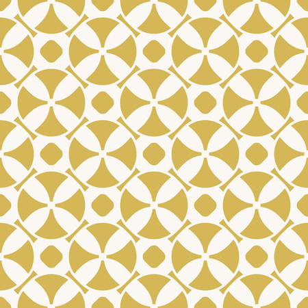 Retro vintage geometric seamless pattern with circles, crosses, grid. Simple texture in pastel colors, yellow mustard and beige. Abstract repeat background. Design for decoration, textile, prints. Illustration