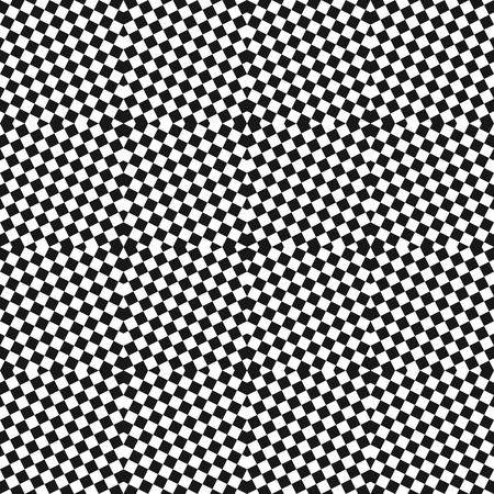 Vector black and white checkered seamless pattern. Small staggered squares, repeat tiles. Optical art texture. Modern abstract geometric background. Modern stylish design for decor, carpet, textile. Ilustração
