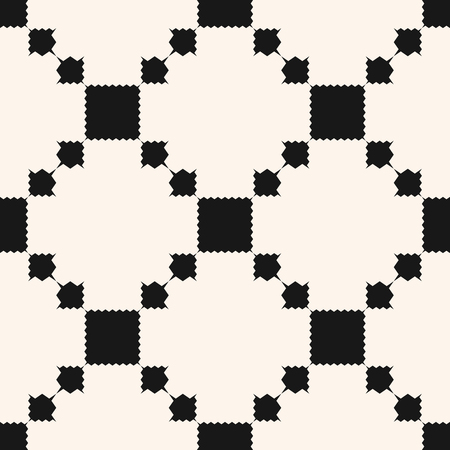 Vector geometric ornament pattern with squares, jagged shapes, grid, repeat tiles. Ornamental ethnic motif. Abstract black and white background. Simple monochrome texture. Design for decor, fabric. Illustration