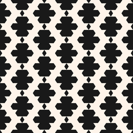 Ornamental seamless pattern in ethnic style. Black and white tribal ornament with simple geometric shapes, rhombuses. Abstract background texture in traditional folk style. Repeat monochrome design