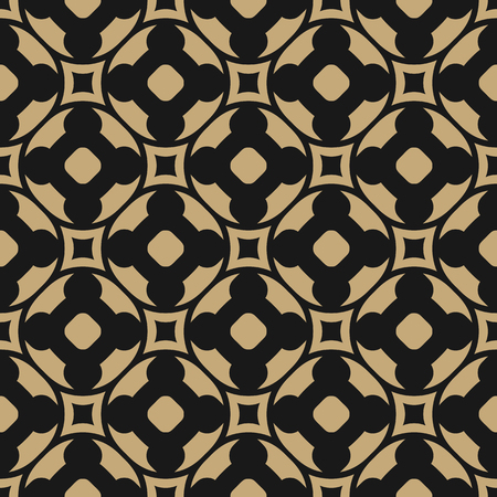 Vector seamless pattern in oriental style. Black and gold geometric ornament, abstract repeat background texture with floral shapes, carved lattice. Elegant design for fabric, textile, home decor Stock Illustratie