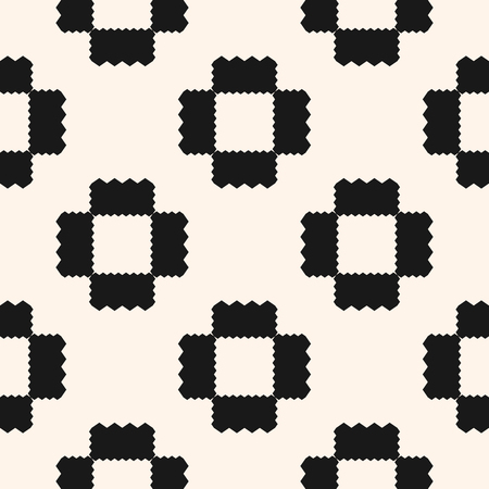 Vector geometric ornament pattern with jagged shapes, squares, repeat tiles. Ornamental ethnic motif. Abstract black and white background. Simple monochrome texture. Design for decor, fabric, cloth Illustration