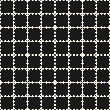 Vector grid seamless pattern. Abstract geometric texture with square lattice, jagged shapes, cross lines. Simple monochrome background, repeat tiles. Dark modern design for decor, prints, digital, web