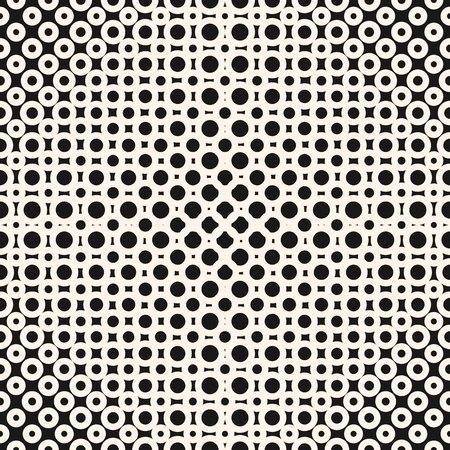 Vector geometric halftone seamless pattern with circles, rings, dots. Abstract monochrome texture. Black and white repeat background with radial gradient transition. Optical illusion. Modern design