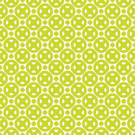 Green seamless pattern. Bright colorful summer background with simple geometric shapes, circles, dots, rounded figures, cookies. Vector abstract modern texture. Funky style repeat design element