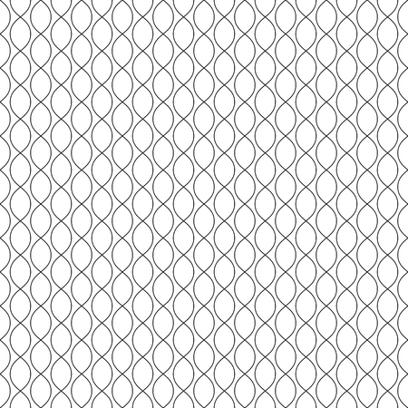Subtle vector background. Abstract geometric seamless pattern with thin curved lines, ovals, mesh, lattice. Black & white monochrome texture. Delicate design for decor, fabric, textile, furniture, web