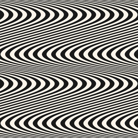 Curved striped wavy lines seamless pattern. Vector texture with black and white waves, stripes. Modern abstract monochrome background, optical illusion effect. Repeat design for decoration, covers