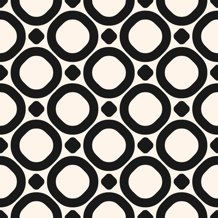 Circles vector seamless pattern. Abstract black and white geometric texture with big rings and dots. Simple monochrome background. Stylish repeat design for decor, prints, furniture, wrapping, textile