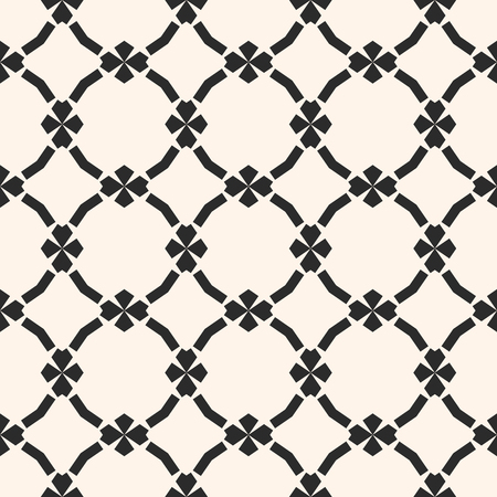 Vector monochrome ornamental pattern in oriental style. Abstract geometric seamless texture with floral shapes, mesh, grid, lattice. Elegant black and white repeat background. Luxury ornament design