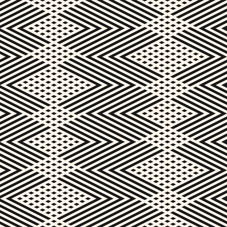 Vector geometric lines pattern. Black and white abstract graphic ornament with diagonal stripes, zigzag, chevron, rhombuses. Simple linear texture. Modern geometry background. Trendy repeat design