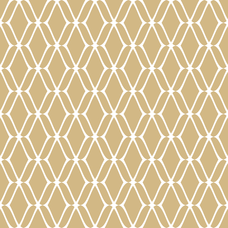 Golden mesh seamless pattern. Subtle vector abstract geometric ornament texture with thin curved lines, delicate mesh, net, grid, lattice, lace. Gold and white luxury background. Repeat design element Vector Illustratie
