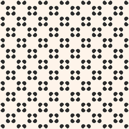 Vector seamless pattern, polka dot texture, small circles and spots, floral shapes. Simple geometric background, abstract minimalist black and white backdrop, repeat tiles. Design for prints, decor