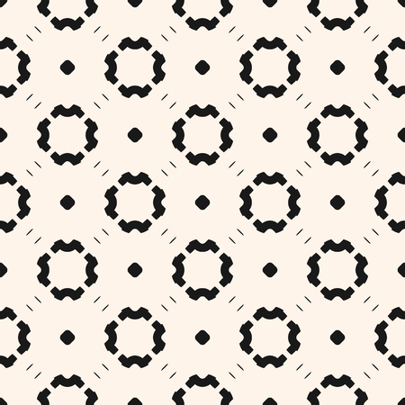 Simple minimalist monochrome pattern floral with small circles, dots, flower silhouettes. Black and white repeat geometric background. Modern abstract texture. Design for decor, wrapping, textile