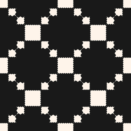 Vector geometric ornament pattern with squares, jagged shapes, grid, repeat tiles. Ornamental ethnic motif. Abstract black and white background. Simple monochrome texture. Dark elegant design element  イラスト・ベクター素材